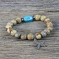 Jasper and calcite beaded stretch charm bracelet, 'Lively Starfish' - Jasper and Calcite Starfish Beaded Bracelet from Thailand