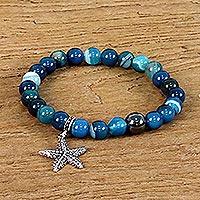 Agate beaded charm bracelet,