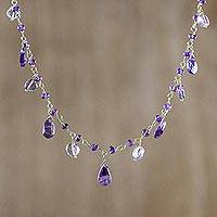 Amethyst and quartz waterfall necklace, 'Lavender Gleam' - Amethyst and Quartz Waterfall Necklace from Thailand