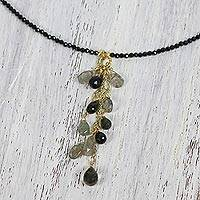 Multi-gemstone pendant necklace, 'Beautiful Cavern' - Multi-Gemstone Beaded Pendant Necklace from Thailand