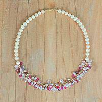 Multi-gemstone beaded necklace,