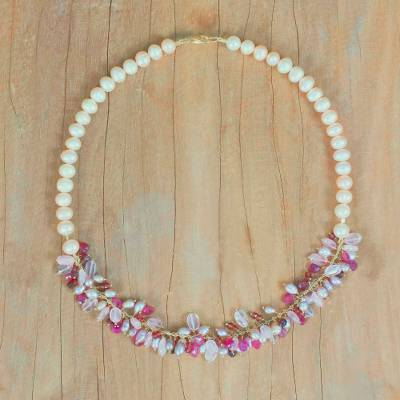Multi-gemstone beaded necklace, 'Natural Brilliance' - Garnet and Rose Quartz Multi-Gem Necklace from Thailand