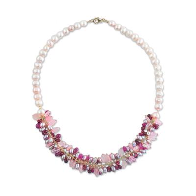 Garnet and Rose Quartz Multi-Gem Necklace from Thailand