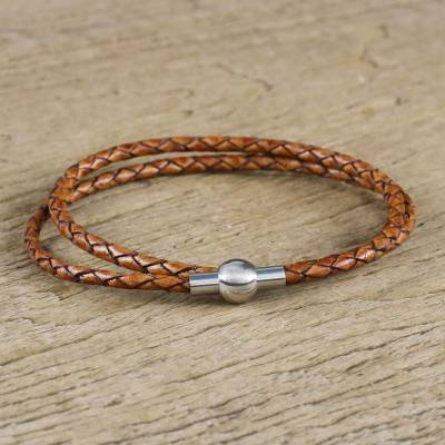 Leather wrap bracelet, 'Brown Charm' (15.5 inch) - 15.5 Inch Brown Leather Wrap Bracelet from Thailand