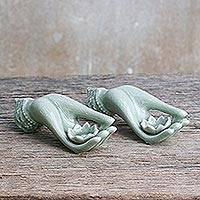 Celadon ceramic incense holders, 'Thai Dance Hands' (pair) - Light Green Celadon Incense Holders Set of 2 from Thailand