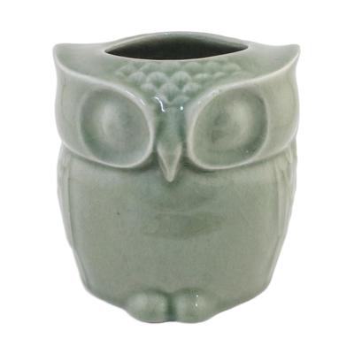Celadon Ceramic Owl Shaped Toilet Tissue Holder