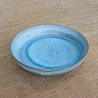 Ceramic serving bowl, 'Blue Grotto' - Thai Artisan Crafted Ceramic Bowl in Blue and Brown