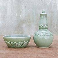 Celadon ceramic flask and bowl. 'Water Blessing' - Lotus Motif Celadon Ceramic Flask and Bowl Set 2