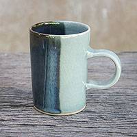 Ceramic mug, 'Dual Classic' - Handmade Indigo Painted Celadon Ceramic Mug from India