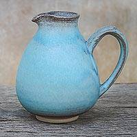 Ceramic jug, 'Filled with Happiness' - Blue and Brown Handmade Ceramic Jug from Thailand