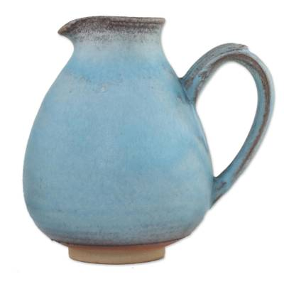 Blue and Brown Handmade Ceramic Jug from Thailand