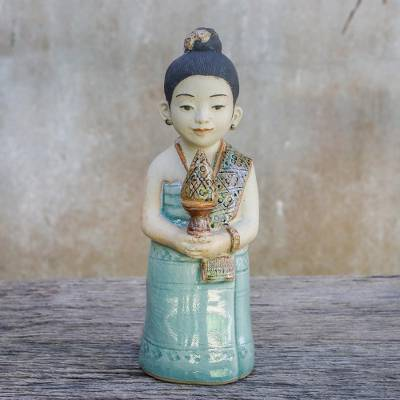 Ceramic sculpture, 'Respectful Girl' - Ceramic Celadon Sculpture of a Girl from Thailand