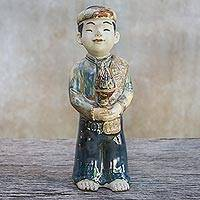 Ceramic sculpture, 'The Respectful Boy' - Signed Ceramic Sculpture of a Boy from Thailand