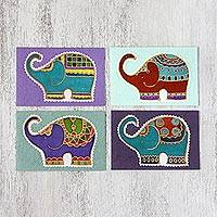 Cotton and paper greeting cards, 'Well-Wishing Elephants' (set of 4) - Four Colorful Batik Elephant Greeting Cards from Thailand