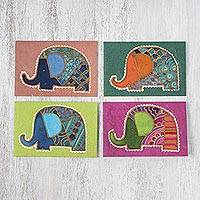 Cotton and paper greeting cards, 'Elephant Salutations' (set of 4) - Handcrafted Batik Elephant Greeting Cards (Set of 4)