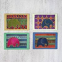 Cotton and paper greeting cards, 'Elephant Journeys' (set of 4) - Batik Cotton and Paper Elephant Greeting Cards (Set of 4)