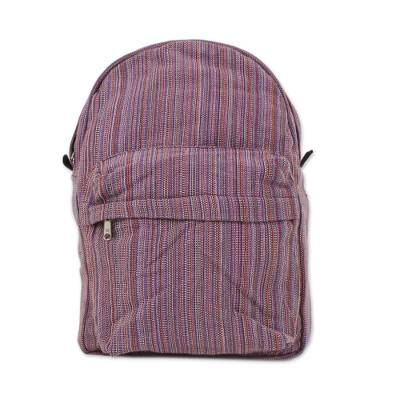 Handwoven Striped Cotton Backpack in Pink from Thailand
