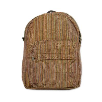 Handwoven Striped Cotton Backpack in Orange from Thailand