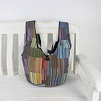 Cotton shoulder bag, 'Joyous Day' - Multicolored Striped Cotton Shoulder Bag from Thailand