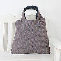 Cotton tote, 'Cozy Adventure' - Handwoven Cotton Tote with Stripes from Thailand