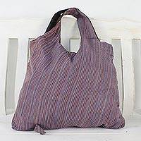 Cotton tote, 'Cozy Adventure in Pink' - Handwoven Striped Cotton Tote in Pink from Thailand