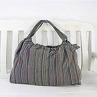 Cotton shoulder bag, 'Exciting Stripes' - Handcrafted Striped Cotton Tote Handbag from Thailand