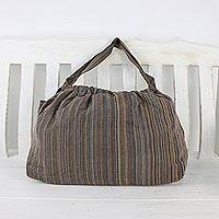 Cotton tote, 'Splendid Stripes' - Handwoven Striped Cotton Tote Handbag from Thailand