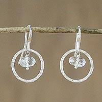 Quartz dangle earrings, 'Twin Crystals' - Quartz and Sterling Silver Dangle Earrings from Thailand