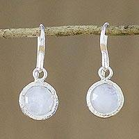 Moonstone dangle earrings, 'Windows to the Moon' - Moonstone and Sterling Silver Dangle Earrings from Thailand