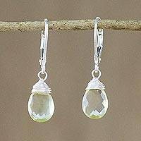 Lemon quartz dangle earrings, 'Glamorous Woman' - Lemon Quartz and Silver Dangle Earrings from Thailand