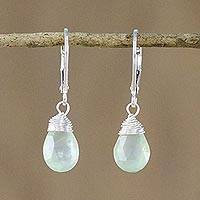 Prehnite dangle earrings, 'Glamorous Woman' - Prehnite and Silver Teardrop Dangle Earrings from Thailand