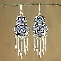 Silver chandelier earrings, 'Hill Tribe Chimes' - Long Hill Tribe Silver Chandelier Earrings from Thailand