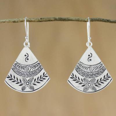 Silver dangle earrings, 'Hill Tribe Fans' - Thai Hill Tribe Style Silver Dangle Earrings