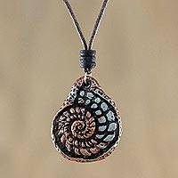 Recycled papier mache pendant necklace, 'Seashell Spiral' - Recycled Papier Mache Seashell Necklace from Thailand