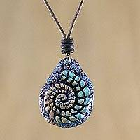 Recycled papier mache pendant necklace, 'Seashell Spiral in Blue' - Papier Mache Seashell Necklace in Blue from Thailand