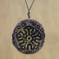 Recycled papier mache pendant necklace, 'Ocean Glyph' - Adjustable Papier Mache Pendant Necklace from Thailand