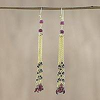 Gold plated garnet and onyx waterfall earrings,