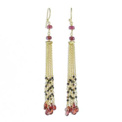 Gold Plated Garnet and Onyx Waterfall Earrings from Thailand