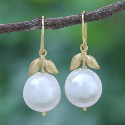 Gold plated cultured pearl drop earrings, 'Pure Gift' - Gold Plated Cultured Pearl Drop Earrings from Thailand
