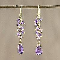 Gold Plated Amethyst And Cultured Pearl Dangle Earrings Paradise Sparkle (thailand)