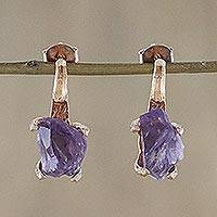 Rose gold plated amethyst drop earrings, 'Precious Antlers' - Rose Gold Plated Amethyst Drop Earrings from Thailand