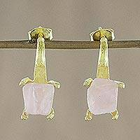 Gold plated rose quartz drop earrings, 'Precious Antlers' - Gold Plated Rose Quartz Drop Earrings from Thailand
