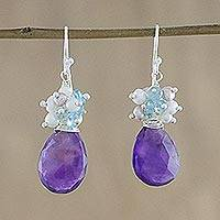 Multi-gemstone dangle earrings, 'Holiday Delight' - Multi-Gem and Sterling Silver Dangle Earrings from Thailand