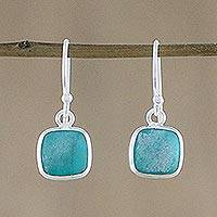Sterling silver dangle earrings, 'Caribbean Blue Chic' - Sterling Silver and Recon Turquoise Earrings from Thailand