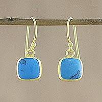 Gold plated sterling silver dangle earrings, 'Sky Blue Chic' - Gold Plated Sterling Silver Dangle Earrings from Thailand