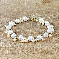 Cultured freshwater pearl link bracelet, 'Mermaid's Treasure' - Gold Accent Cultured Pearl Link Bracelet from Thailand