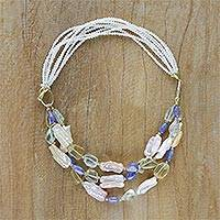 Gold plated multi-gemstone beaded necklace, 'Elegance at Night' - Gold Plated Multi-Gemstone Beaded Necklace from Thailand