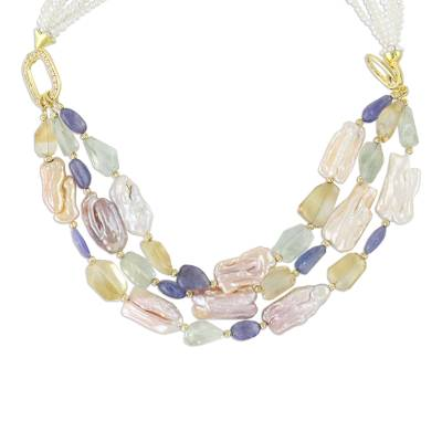 Gold Plated Multi-Gemstone Beaded Necklace from Thailand