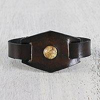 Jasper and leather wristband bracelet, 'Jasper Focus' - Jasper and Leather Wristband Bracelet from Thailand