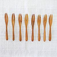 Teakwood canape forks, 'Invitation' (set of 8) - Set of 8 Hand-Carved Teakwood Canape Forks from Thailand